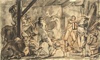 cerf entrant dans une étable et esquisse (recto-verso) by jean-baptiste coulon