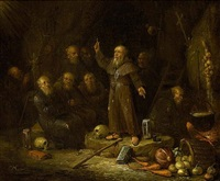 hermit monks in a grotto by egbert van heemskerck the younger