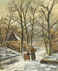 gathering firewood by hendrik barend koekkoek