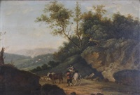 a young cowherd playing a pipe; a husband and wife herding sheep and a cow (pair) by francesco giuseppe casanova