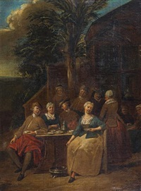 collation devant l'auberge (+ another, lrgr; pair) by jan baptist lambrechts