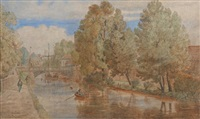 towards foundry bridge, norwich (+ by trowse bridge, norfolk; pair) by john joseph cotman