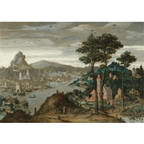a fantasy mountainous river landscape with ships moored before a distant city by lucas gassel