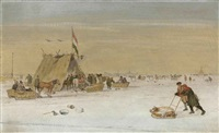 a winter landscape with figures on the ice by a koek-en-zopie tent by hendrick avercamp