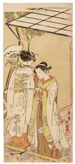 deux miko exécutant la danse otomi kagura (hosoban) by ippitsusai buncho