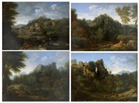 paysage aux rochers (+ 3 others; 4 works) by gaspard dughet