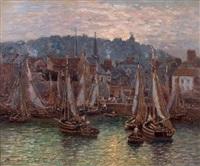 le port de honfleur by maurice françois auguste courant