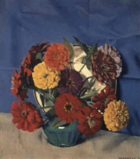 zinnias by herbert edward badham