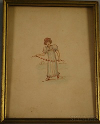 portrait of a young woman with a flower garland by kate greenaway