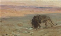 lion drinking by henry ossawa tanner
