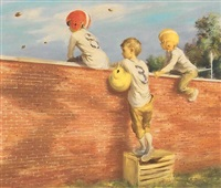 boys watching football practice over brick wall (illus. for new york life insurance?) by lawrence beall smith