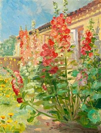 red hollyhocks in the garden of the ancher family's house on markvej in skagen by anna kirstine ancher