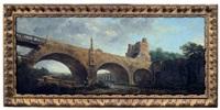 pont surmonté d'une tour en ruines by hubert robert