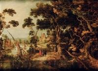 paysage de forêt avec les pèlerins d'emmaüs by gillis claesz de hondecoeter