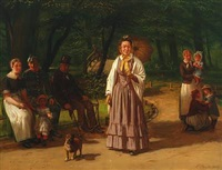 a sunny day in the park by ludwig august smith