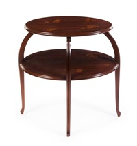 mahogany and marquetry decorated etagere by louis majorelle