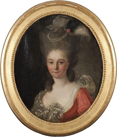 portrait de jeune femme à la coiffure ornée de perles et de plumes by adolf ulrik wertmuller