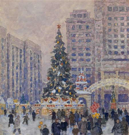 new year tree on manege square by mikhail bobyshev
