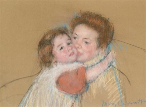 sketch for margot embracing her mother (no. 2) by mary cassatt