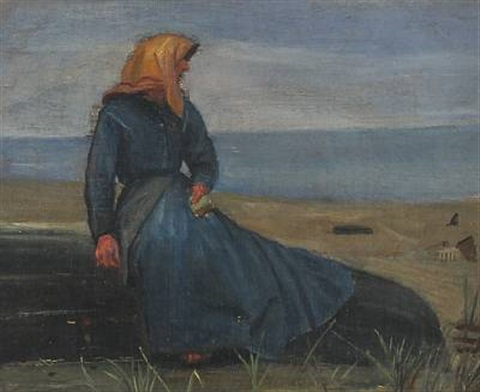 a fishermans wife in the dunes by michael peter ancher