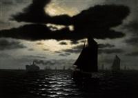 ein dampfschiff und segelboote by h. p. engmann