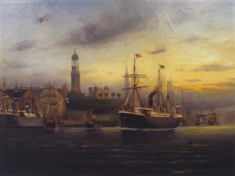 hamburger hafen mit dem hapag dampfer rhaetia by german school hamburg 19