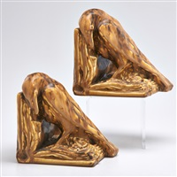 production bookends with rooks in brown mat (pair) by rookwood pottery