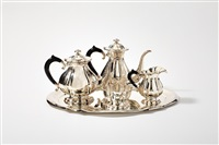 coffee and tea set on tray (set of 5) by d.j. aubert