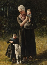 mother with children and a lamb by david adolf constant artz