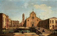 a view of the campo santa maria gloriosa dei frari, venice by francesco tironi