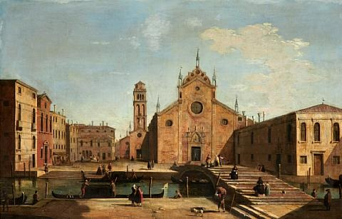 a view of the campo santa maria gloriosa dei frari venice by francesco tironi