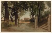 vue de la terrasse arrière de la villa médicis by gabriel auguste ancelet