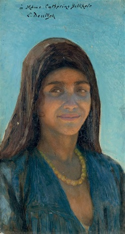 portrait de femme au collier by ludwig deutsch