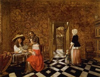 merry company at a table with a woman and a child by hendrick van der burch