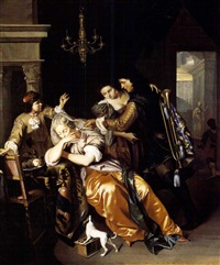 a trumpeter reviving with pipe smoke a fainting woman by willem verschuring the younger