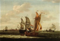 a kaag, small cargo ships and other vessels on the zuiderzee with a view of hoorn in the background by jacob gerritz loef