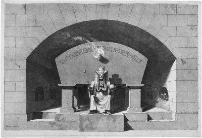 grabmonument mit thronendem tod als sphinx und weltenherrscher by louis jean desprez