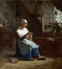 woman knitting by walter gay