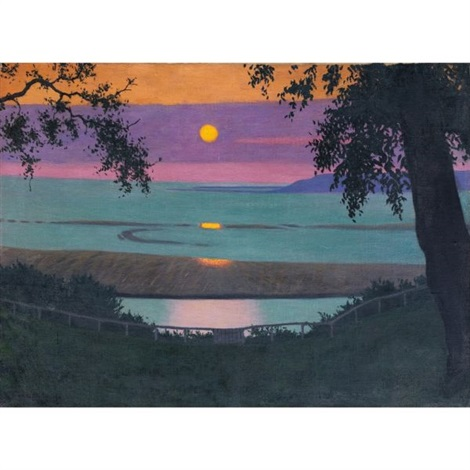 coucher de soleil à grâce ciel orangé et violet sunset at grace orange and violet sky by félix edouard vallotton