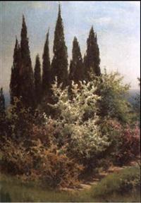 parklandschaft mit bluhenden strauchern by viktor pavlovitch baturin