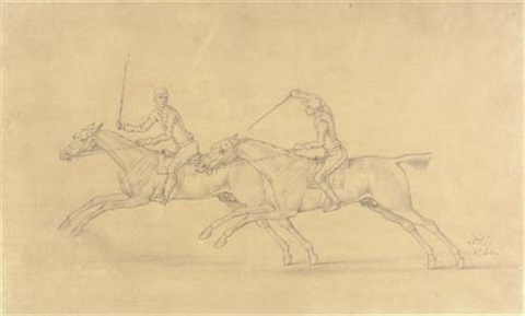 A Pair Of Galloping Horses With Their Jockeys By James Seymour