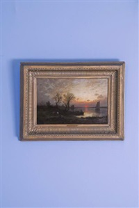 barques de pêche et personnages au bord d'une rivière au soleil couchant by auguste paul charles anastasi