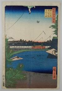 série des 100 vues célèbres d'edo. planche 3 - yamashita-ch? hibiya soto-sakurada. la résidence du daimyo nabeshima kanso, avec le mont fuji en arrière-plan by ando hiroshige