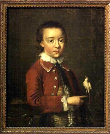 boy in a red waistcoat and holding a white cockatoo by john wollaston