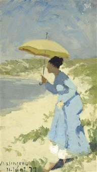 a lady on the beach under a parasol by hans dahl