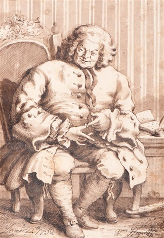 a cartoonesque portrait of a seated gentleman by william hogarth