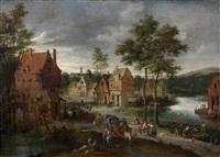scène de village animée et traversée d'une rivière by peter gysels