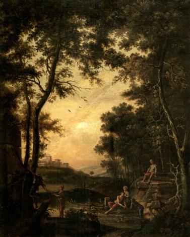paysage de la campagne romaine avec six personnages près dune fontaine by jean baptiste charles claudot