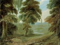 bewaldete landschaft mit blick auf einen turm by alexander keirincx
