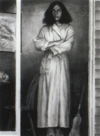 peach robe (a portrait of the artist's wife) by sigmund m. abeles